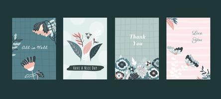 conjunto de cartões botânicos florais vetor