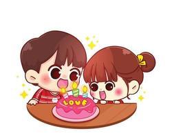 casal comemora aniversário com bolo de ilustração de personagem de desenho animado