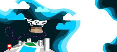 drone de entrega de ilustração de tecnologia sem contato vetor