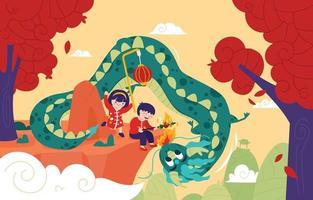 brincar com o dragão de estimação na celebração do festival do ano novo chinês vetor