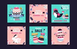 coleção de postagens fofa de venda de páscoa nas redes sociais vetor