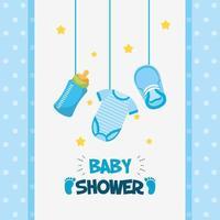 Cartão de chá de bebê com ícones bonitos pendurados vetor