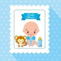 cartão de chá de bebê com garotinho fofo vetor