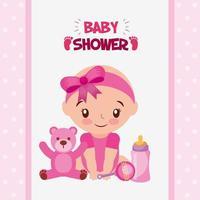 cartão de chá de bebê com garotinha fofa vetor