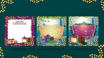 coleção de modelos em branco de natal decorados com elementos de inverno para suas artes vetor