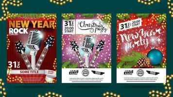 Natal, ano novo, cartão postal noel, cartazes, panfletos, brochuras, conjunto de convite. vetor