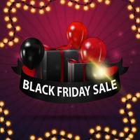 venda de sexta-feira negra, banner de desconto em forma de fita com balões, presentes e moldura de guirlanda vetor