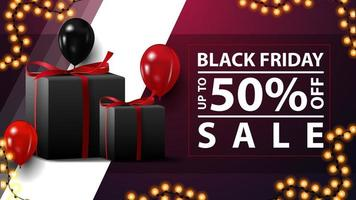 promoção de sexta-feira negra, até 50 de desconto, banners de desconto horizontais roxos com presentes, balões e grinalda vetor