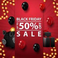 venda de sexta-feira negra, até 50 de desconto, modelo de quadrado vermelho para sua criatividade com presentes, cofrinho e balões vetor