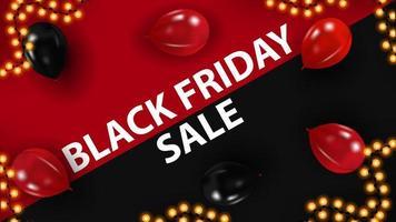 liquidação de sexta-feira preta, banner vermelho e preto com balões na mesa, vista superior vetor