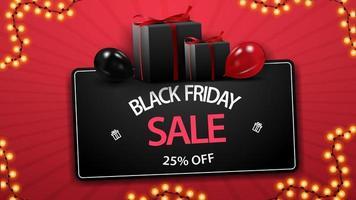 promoção de sexta-feira negra, desconto de até 25, cupom preto de desconto com presentes e balões vetor
