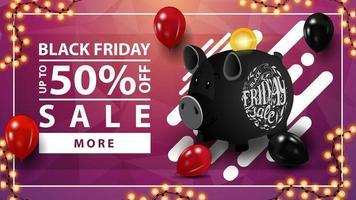 venda de sexta-feira preta, desconto de até 50, banner da web de descontos horizontal rosa com cofrinho preto vetor