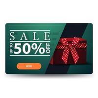 venda, desconto de até 50, banner de desconto horizontal verde com caixa de presente vermelha isolada no fundo branco