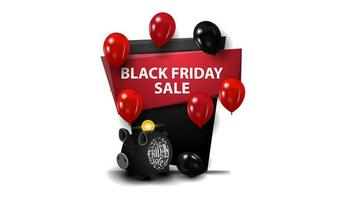 venda de sexta-feira negra, bandeira vermelha e preta em forma de sinal geométrico com cofrinho e balões. vetor