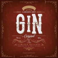 rótulo de gim vintage de Londres para garrafa vetor