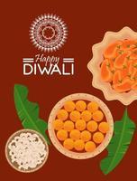feliz celebração diwali com menu e letras vetor