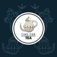 hora do pôster de letras de chá com bule em moldura circular vetor