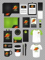 pacote de marcas de elementos de maquete de vegetais de cenoura vetor