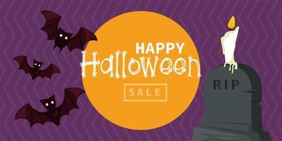 cartão de feliz festa de halloween com morcegos voando e velas na tumba vetor