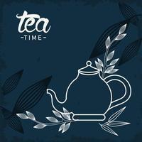 Cartaz de rotulação da hora do chá com bule e folhas vetor