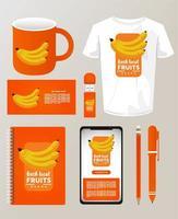 pacote de bananas frutas maquete elementos da marca vetor