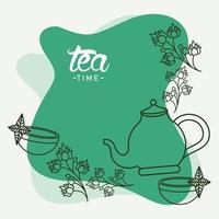 pôster de letras na hora do chá com bule e xícaras vetor