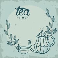 pôster de letras na hora do chá com bule e xícara de chá vetor