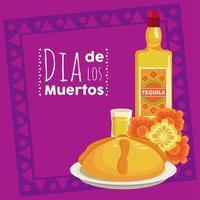 pôster do dia de los muertos com garrafa de tequila e flores vetor