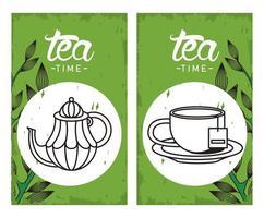 pôster de letras na hora do chá com bule e xícara em molduras quadradas vetor