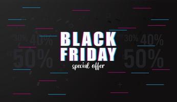banner preto de venda sexta-feira com letras e linhas coloridas vetor