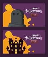 cartão de feliz festa de halloween com castelo assombrado e lápide