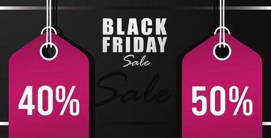 banner preto de venda sexta-feira com etiquetas rosa penduradas vetor