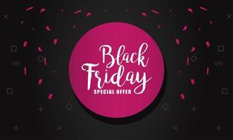 banner preto de venda sexta-feira com letras em moldura circular rosa vetor