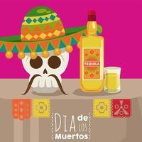 pôster do dia de los muertos com crânio de mariachi e garrafa de tequila vetor