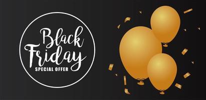 letras pretas de venda sexta-feira em moldura circular com balões dourados de hélio vetor