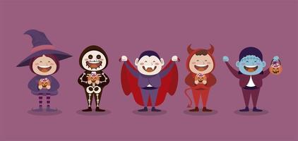 feliz festa de halloween com personagens monstrinhos vetor