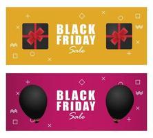 banner preto de venda sexta-feira com presentes e balões vetor