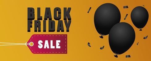 banner de letras de venda sexta-feira negra com balões de hélio e etiqueta vetor