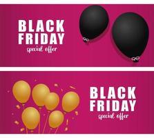 banner preto de venda sexta-feira com letras e balões de hélio vetor