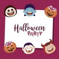 feliz festa de halloween com letras e personagens de cabeças de monstros vetor