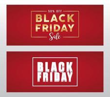 banner preto de venda sexta-feira com inscrições douradas e brancas vetor