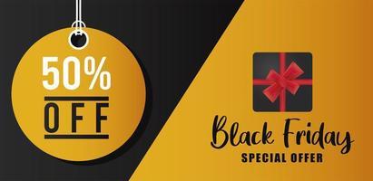 banner preto de venda sexta-feira com letras em etiqueta circular dourada vetor