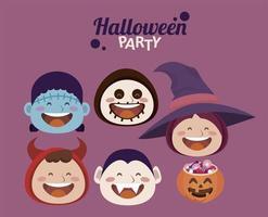 feliz festa de halloween com pequenos monstros protagonistas vetor