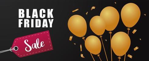 banner de letras de venda sexta-feira negra com balões dourados hélio e etiqueta vetor