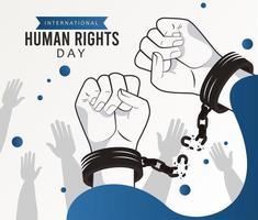 pôster do dia dos direitos humanos com mãos quebrando algemas vetor