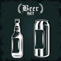 garrafa de cerveja e ícones isolados de lata vetor