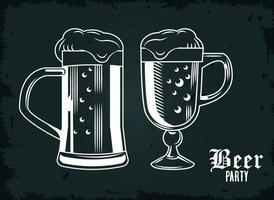 ícones isolados de caneca de cerveja vetor