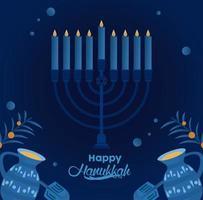 feliz festa de hanukkah com candelabro e bules vetor