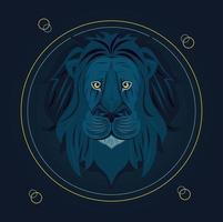 cabeça de leão em moldura circular vetor