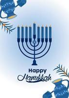feliz celebração de hanukkah com candelabro azul vetor
